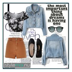 """""""StyleMoi- Denim Jacket (with PRIZES)"""" by indierock4life ❤ liked on Polyvore featuring Kershaw, Aéropostale, River Island and LE3NO"""