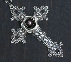 Gothic Cross with Silver Rose OOAK by robinhoodcouture on Etsy Purple And Black, Black Silver, Gothic Images, Gothic Crosses, Cancer Tattoos, Victorian Gothic, Gothic Art, Gothic Outfits, Gothic Jewelry