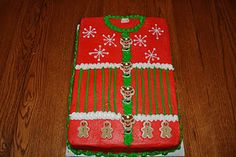 """Ugly Sweater Cake Needing ideas for a FUN Ugly Christmas Sweater Party check out """"The How to Party In An Ugly Christmas Sweater"""" at Amazon.com"""