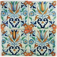 So called Tulip Hearts on this antique Dutch Delft tiles