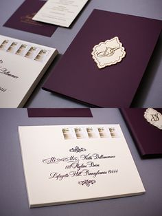 Plum invitations never looked so beautiful. We made book style plum leather feel invitations with a vintage die cut invitation. The invitations were printed gold. Response cards listed the events for the entire wedding weekend. Click through to read about the details and pin for later!