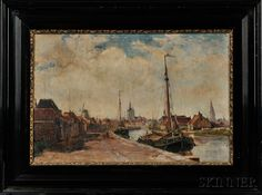 Continental School, 19th Century      Dutch Canal Scene
