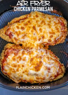 Air Fryer Chicken Parmesan - all the flavor and none of the fat! I am OBSESSED w. - Air Fryer Chicken Parmesan – all the flavor and none of the fat! I am OBSESSED with this crunchy - Air Frier Recipes, Air Fryer Oven Recipes, Air Fryer Dinner Recipes, Air Fryer Chicken Recipes, Chicken Breast Air Fryer Recipe, Recipe Chicken, Comida Pizza, Air Fried Food, Air Fryer Healthy