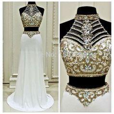 Shining Long Prom Dresses,Beading Bodice White Chiffon Evening Prom Dresses #SIMIBridal #promdresses