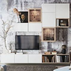 Small Living Room Storage Image by Kim Zammit Endrich On Living Room Cabinets, Dining Room Walls, Living Room Furniture, Living Room Decor, Small Living Room Storage, Small Space Living, Ikea Storage Furniture, Bedroom Wall Units, Living Room Designs