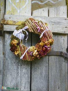 Festői Elegancia-rózsás ajtódísz,koszorú shabby -vintage között ajtódísz,kopogtató,koszorú (galamb70) - Meska.hu