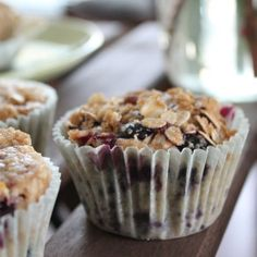 These blueberry oat muffins make a great breakfast or snack, are gluten-free, and are packed with delicious blueberry flavor!
