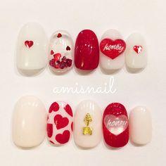 Love Nails, Red Nails, Pretty Nails, Seasonal Nails, Holiday Nails, Nail Art Modele, Korea Nail Art, Valentine Nail Art, Foil Nail Art