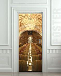 Door STICKER wine rowed cellar barrel kitchen vine viticulturist mural decole film self-adhesive poster & Wall Decal Door Sticker BIRCH FOREST Self-Adhesive Vinyl Poster ...