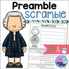 Preamble Scramble: Cut and Paste Activity Cut And Paste, We The People, Social Studies, Students, Key, Activities, Learning, Words, Room