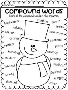 Students write all the compound words in the snowman. Perfect for grammar work for kindergarten, first grade and second grade. Teaching English Grammar, English Grammar Worksheets, 1st Grade Worksheets, Teaching Time, Teaching Phonics, Grammar Activities, Jolly Phonics, Teaching Ideas, Nouns Worksheet