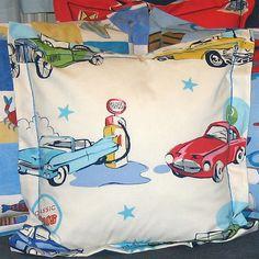 Boy's White Classic Cars Cushion, Children's Pillow Handmade in a White Retro Car Cotton, 21 inch x 21 inch, 53 cm x 53 cm