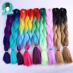 Hair Extensions & Wigs Reliable Feilimei Ombre Green Colored Crochet Hair Extensions Kanekalon Hair Synthetic Crochet Braids Ombre Jumbo Braiding Hair Extension