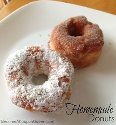Here's a super easy recipe for making homemade donuts! This has become a tradition my boys love! See the complete recipe at BecomeACouponQueen.com.