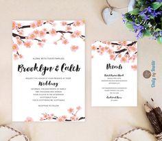 Cherry blossom wedding Invitations and RSVP Cards  Elegant