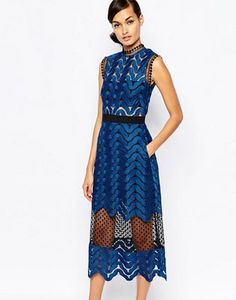 Self Portrait Scallop High Neck Midi Dress