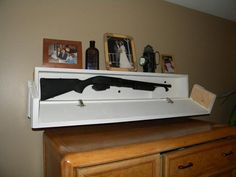 How to make this easy to build DIY Floating shelf with a Secret Compartment Gun Safe. This hidden compartment hides your firearm in plan site. Easy quick access when needed. Hidden Gun Storage, Hidden Shelf, Hidden Safe, Hidden Compartments, Secret Compartment, Diy Kitchen Storage, Diy Storage, Storage Ideas, Floating Shelves Diy