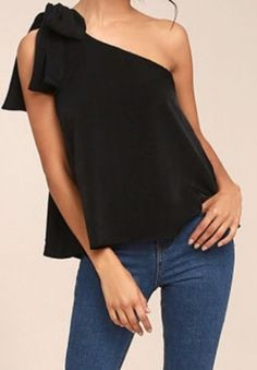 Classy One Shoulder Pure Colour Vest Look Fashion, Womens Fashion, Blouse Designs, Casual Looks, Casual Outfits, Fashion Dresses, Street Style, Couture, Clothes For Women