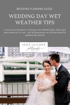 If you're worried about it raining on your Wedding Day, these wet weather tips are just what you need! Don't worry too much about whether it will rain or not, just use these tips to make sure you are prepared and still get beautiful wedding photos, rain, hail or shine!  #justforlovephotography #weddingplanning #wetweathertips #rainonyourweddingday #weddingphotography #weddingadvice Rain On Wedding Day, Rainy Wedding, Wedding Mood Board, On Your Wedding Day, Wedding Planning Guide, Wedding Advice, Indoor Wedding Ceremonies, Outdoor Wedding Inspiration, Bridal Portraits