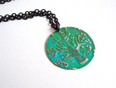 Tree Pendant, Green Tree Necklace, Brass Tree Necklace, Patina'd Pendant, Hand Stamped Tree of Life Necklace, Gift for Women, Metal Jewelry