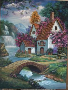 Cottage By The Waterfalls by Thomas Kinkade. Watercolor Landscape, Landscape Art, Landscape Paintings, Thomas Kinkade, Kinkade Paintings, Acrilic Paintings, Cottage Art, Abstract Photography, Beautiful Paintings