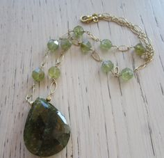 Green Garnet Necklace Short gold Chain Necklace by MahsanAmoui