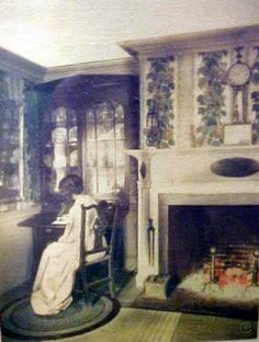 Vintage Wallace Nutting hand painted Interior Photo of Woman at Writing Desk