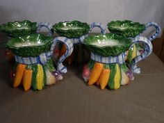 RETIRED FITZ & FLOYD VEGETABLE BOUQUET MUGS 6 TOTAL in | eBay