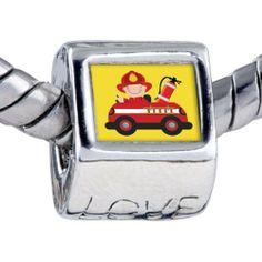 Pugster Bead Little Cute Fireman Photo Love European Charm Bead Fits Pandora Bracelet Pugster. $12.49. Fit Pandora, Biagi, and Chamilia Charm Bead Bracelets. It's the photo on the love charm. Bracelet sold separately. Hole size is approximately 4.8 to 5mm. Unthreaded European story bracelet design