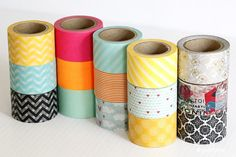 This wide washi tape measure wide x in length. Perfect for packaging, paper craft and party craft projects where the regular size just isnt thick enough. Washi Tape Crafts, Paper Crafts, Craft Tutorials, Craft Projects, Tapas, Fall Patterns, Decorative Tape, Craft Party, Masking Tape