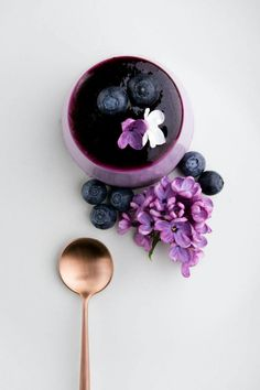 Blueberry and Lilac Syrup Panna Cotta | Crop.fr