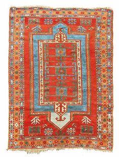 Large Antique Bold 1880 KAZAK Caucasian Rug Dehati | love these colors