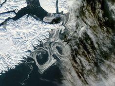 Sea Ice Off Eastern Greenland  The MODIS instrument on NASA's Aqua satellite captured this visible image of Sea Ice off eastern Greenland on October 16, 2012.by NASA/GSFC/Jeff Schmaltz/MODIS Land Rapid Response Team via discovermagazine #Greenland #Sea_Ice #NASA