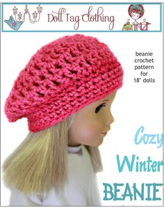 "Pixie Faire Friday Freebie Cozy Winter Beanie Crochet Pattern 18"" Dolls"
