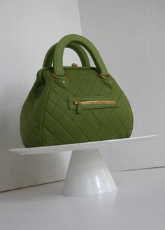Green Hand Bag with gold detail