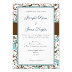 Elegant Blue and Brown Floral Wedding Set Personalized Invitation