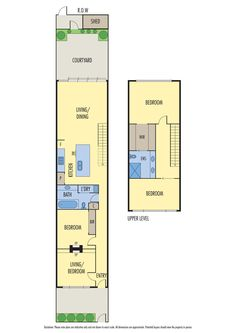 Floorplan for single-fronted house with traditional front layout, modern rear living area and upstairs addition with two bedrooms.