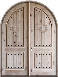 Tall Rustic Knotty Alder Radius Top Double Door- a girl can dream. Tall Rustic Knotty Alder Radius Top Double Door- a girl can dream. Wood Entry Doors, Double Entry Doors, Rustic Doors, Knotty Alder Doors, Farmhouse Fall Wreath, Double Door Wreaths, Tiny House Exterior, Door Swag, Fall Door