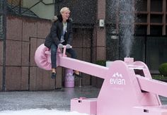 Living young: Made In Chelsea's Oliver Proudlock and Jamie Laing jump on seesaw at adult sized playground Street Marketing, Guerilla Marketing, Event Marketing, Interactive Exhibition, Interactive Installation, Paper Bag Design, Girls Hub, Made In Chelsea, Print Layout