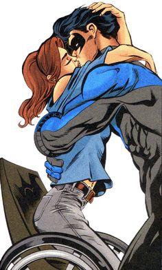 Nightwing & Oracle. Worth noting that in the next panel she cheekily asks him to come over in his police uniform next time... Officer Grayson is a hottie. (Nightwing 80-Page Giant)