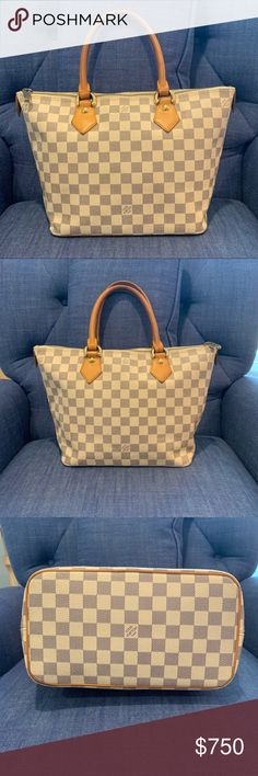 Louis Vuitton Saleya PM Damier Azur Authentic Louis Vuitton Saleya PM in  Damier Azur VI0066. Excellent used condition. Handles are extraordinary ... dfc12bae8b318