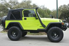 "Happy St. Patrick's Day!!!  Gecko Green!!! - Automatic, 4"" Lift w/ Brand New 35"" Tires, New Soft Top, New Carpet, Safari Snorkel, Custom Bumper with Lights.... http://www.selectjeeps.com/inventory/view/7346426?1997+Jeep+Wrangler+2dr+Sport+League+City+TX"