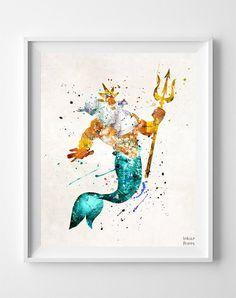 King Triton, The Little Mermaid Print