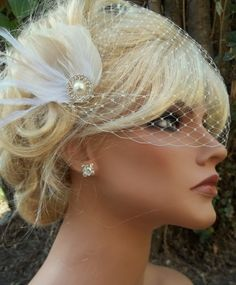 Bridal fascinator and Veil bandeau style ivory by kathyjohnson3, $68.00