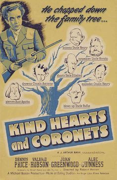 KIND HEARTS AND CORONETS, 1949. Directed by Robert Hamer, starring Dennis Price, Valerie Hobson, Joan Greenwood, Alec Guinness. Click through for Terence Davies on the film's comedy.