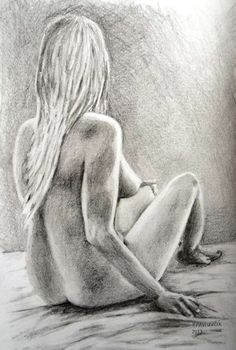 Peter Pavluvcik - naked female figure, drawing, pencil 7.