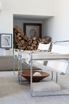 I adore these Marcel Breuer Wassily chairs in white. OMG.