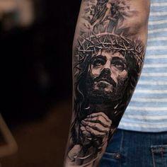 Tattoo Artists You Really Should Get to Know: Oscar Akermo Jesus Forearm Tattoo, Jesus Tattoo Sleeve, Religious Tattoo Sleeves, Lion Forearm Tattoos, Inner Bicep Tattoo, Religious Tattoos, Best Sleeve Tattoos, Body Art Tattoos, Drake Tattoos
