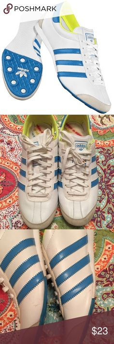Adidias aditrack sneakers size 10 Adidas trainer in white/blue/lime size 10. They are authentic they run a little small for my foot, I have pictured the scuffs and blemishes. They are still a great pair of trainers. Adidas Shoes Sneakers