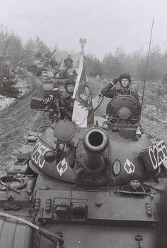 Column of polish T-55 tanks.